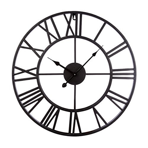 Fcoson Vintage Metal Clock Hollowed-out Roman Numeral Silent Clock 20-inch Large Round Decorative Clock for Living Room Bedroom Kitchen Black