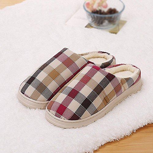 Winter Plaid Baumwolle Hausschuhe Mode Baumwolle Halbe Tasche mit Pantoffeln am Ende Der Hausschuhe,E,42-43