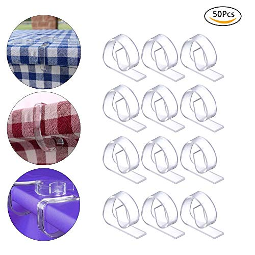 HSCC666 Clear Plastic Tablecloth Clips - Table Cover Cloth Clamps Holder for Home Party Picnic, Set of 50