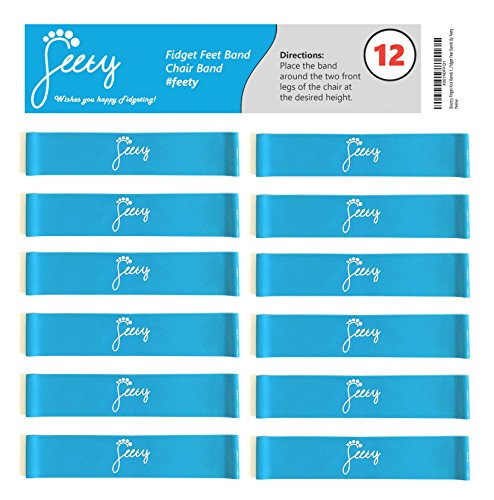 Bouncy Kick Chair Bands for Fidgety Kids and Restless Legs (12-Pack) - for Classroom Chairs in Elementary Middle High School - ADHD ADD Sensory Needs - (Light Blue) Fidget Feet Band by Feety