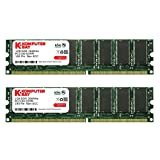 KOMPUTERBAY 2GB ( 2 X 1GB ) DDR DIMM (184 PIN) 266Mhz DDR266 PC2100 DESKTOP MEMORY KIT