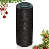 Portable Bluetooth Speaker, Zamkol Wireless Outdoor Speakers Enhanced Bass and Ambient LED Light, 24W Dual Driver, 360° Full Surround Sound, IPX6 Waterproof, for Home, Outdoors, Travel