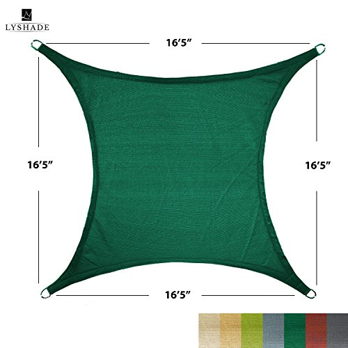 LyShade 16'5 x 16'5 Square Sun Shade Sail Canopy (Dark Green) - UV Block for Patio and Outdoor by LyShade