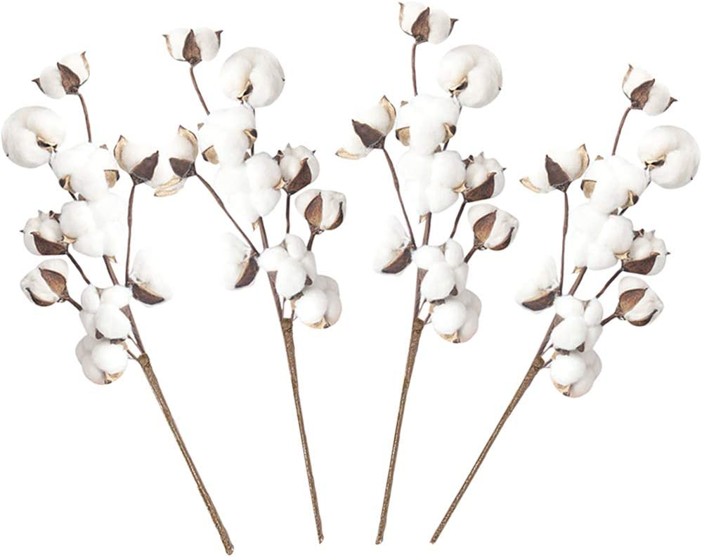 Guuozzli Cotton Stems,Artificial Cotton Branch with 10 Heads,Fake White Cotton Floral Picks for Farmhouse Vase Decor,House Wedding Decoration,4 Pack 21 Inch
