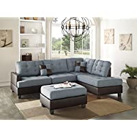 Benzara BM168702 Polyfiber Sectional Sofa with Ottoman and Pillows, Blue/Brown