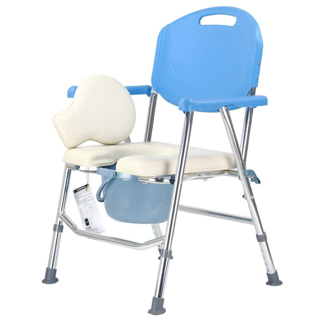 G-LXYZBQSHYP Elderly Toilet Chair Aluminum Alloy Commode Chair Foldable Toilet Bathroom Shower Chair Household Mobile Toilet Seat by G-LXYZBQSHYP