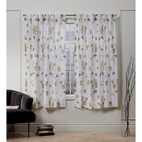 Nicole Miller La Petite Fleur Hidden Tab Top Curtain Panel, Honey Gold, 50x63, 2 Piece