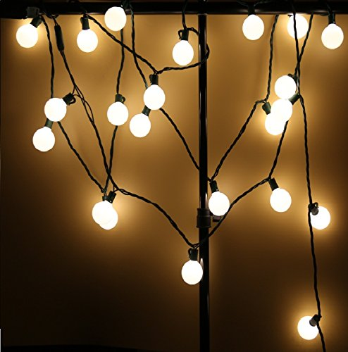 Commercial Grade G40 Frosted Globe Decorative String Lights,Longer Life Span,17 Ft 25 LED Warm White Christmas Lights for Indoor Outdoor Use,2 Fuses Included by MAXINDA