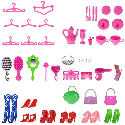Total-120pcs-10-Pack-Doll-Clothes-Party-Gown-Outfits-10pcs-bags-100pcs-Different-Doll-Accessories-Shoes-Glasses-Necklace-Tableware-Mirror-For-Barbie-Doll-Girl-Birthday-Gift