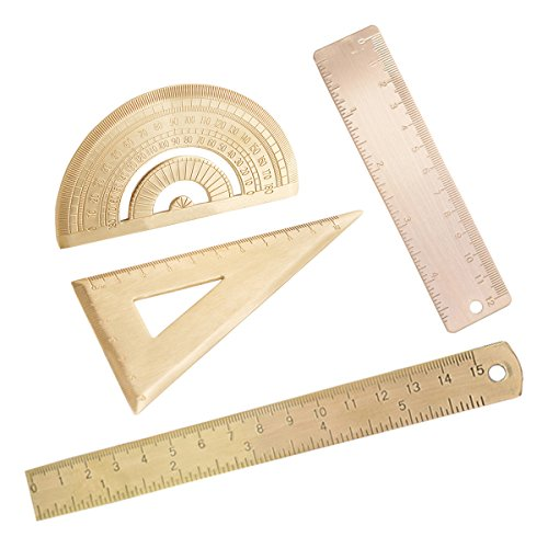 - 4pcs Brass Ruler Degree Standard Protractor Triangle Ruler Math Geometry 12mm Ruler 15mm Ruler Stationery