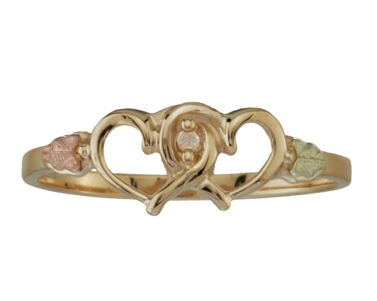 Diamond Two Hearts Petite Ring, 10k Yellow Gold, 12k Green and Rose Gold Black Hills Gold Motif, Size 7 by Black Hills Gold Jewelry