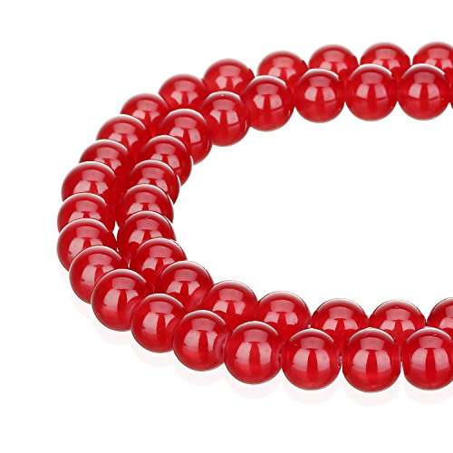 RUBYCA 1 Strand 8MM Jade Imitation Round Painted Coated Glass Beads Jewelry Making Light Siam Red