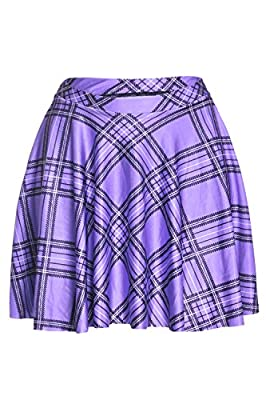 Zonsaoja Women Plaid A-Line Flared Circle Skater Basic Mini Casual Skirt