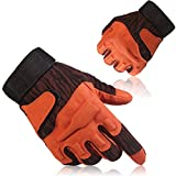 Fuyuanda Full Finger Outdoor Sports Airsoft pistols Cycling Riding Shooting Hunting Camping Racing Motorcycle Hiking Driving Glove (Orange, M)