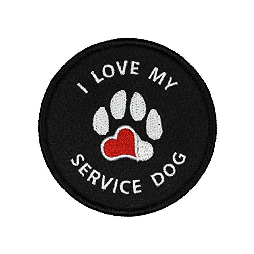I Love My Service Dog Badge Patch Paw Print Heart Embroidered Iron On Applique
