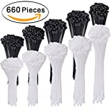 AUSTOR 660 Pieces Zip Ties White and Black Cable Zip Ties Heavy Duty Nylon Cable Ties in 4/ 6/ 8/ 10/ 12 Inches for Home Office Garage and Workshop