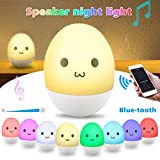 Elfeland Children Night Light Nursery Lamp with Wireless Speaker LED Color Changeable Tumbler Egg Design USB Rechargeable Adjustable Brightness Touch Control Safe ABS+Silicone