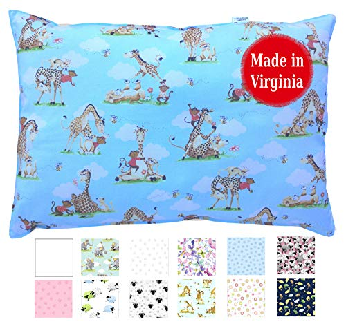 Hypoallergenic Toddler Pillow 13 x 18 - Available in White & Prints - No Pillowcase Needed - Ages 2 to 4 - Made in Virginia by A Little Pillow Company (Best Buddies)