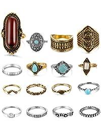 16-18PCS Bohemian Vintage Knuckle Ring Set for Women Girls Stackable Rings Finger Toe Rings Set