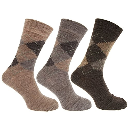 Mens Traditional Argyle Pattern Lambs Wool Blend Socks With Lycra (Pack Of 3) (US Shoe 7-12) (Shades of Brown)