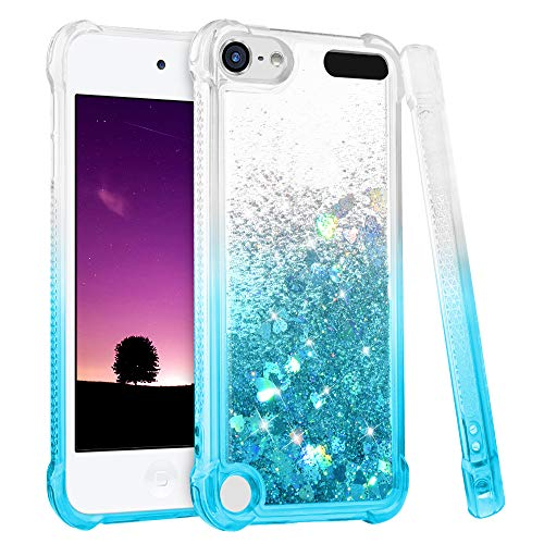 iPod Touch 5 6 7 Case, iPod Touch Case 5th 6th 7th Generation for Girls, Ruky Gradient Quicksand Series Glitter Flowing Liquid Floating Flexible TPU Cute Case for iPod Touch 5 6 7 (Gradient Teal) (Ipod 5 Cases Best Friend)