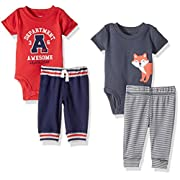 Carter's Baby Boys' 4-Piece Bodysuit and Pant Set, Navy Fox/Red Varsity, 9 Months