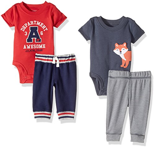 Price comparison product image Carter's Baby Boys' 4-Piece Bodysuit and Pant Set, Navy Fox/Red Varsity, 3 Months