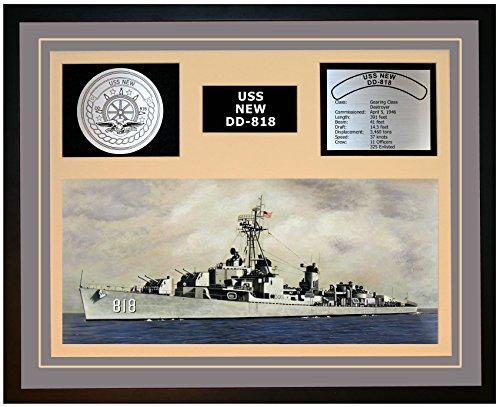 Navy Emporium USS New DD 818 Framed Navy Ship Display Grey