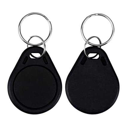 LIBO RFID Keychains NFC Smart Key Tag Card RFID Access Control Keyfobs Proximity 13.56 MHz MF Classic 1k IC S50 Token Read Only (Black, Pack of 100)