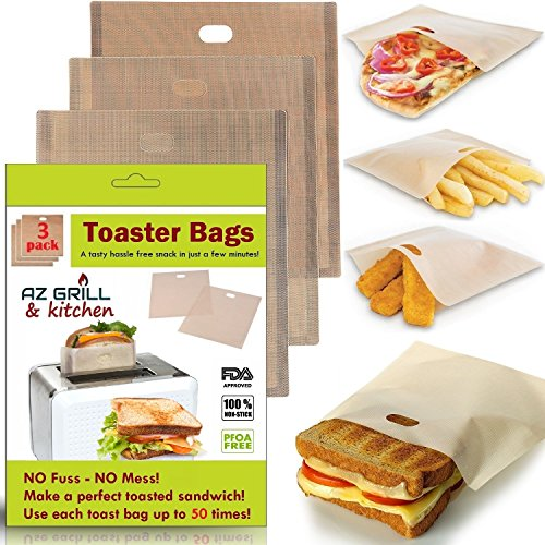 Toaster Bags Set of 3 Non-stick Teflon Reusable - Perfect for Grilled Cheese Sandwiches - Best Grill Cheese Bags - Toasted Sandwich Bags - Microwave Oven Toaster Bags - FDA-Approved Panini Toast Bags (Grilled Oven Chicken)