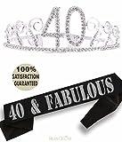40th Birthday Tiara and Sash, Happy 40th Birthday Party Supplies, 40 & Fabulous Black Glitter Satin Sash and Crystal Tiara Birthday Crown for 40th Birthday Party Supplies and Decorations (Tiara+Sash)