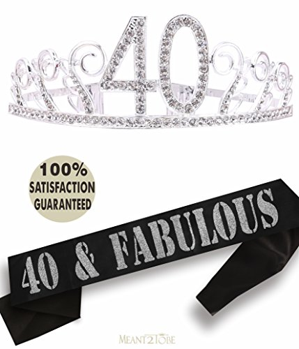40th Birthday Tiara and Sash| Happy 40th Birthday Party Supplies| 40 & Fabulous Black Glitter Satin Sash and Crystal Tiara Birthday Crown for 40th Birthday Party Supplies and Decorations (Silver)