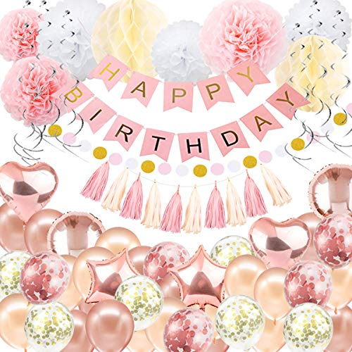 Birthday Decorations Balloon Banner - Rose Gold Happy Birthday Decoration, Happy Birthday Banner, 16th 18th 21st 30th 50th 60th Birthday Balloons Birthday Party Decoration for Women girls]()
