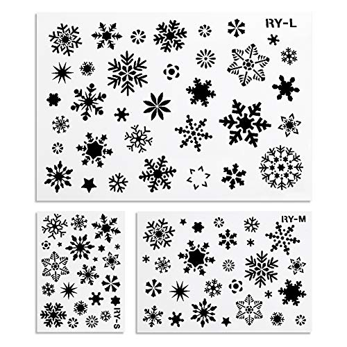 Koogel 3PCS Winter Stencil, Christmas Stencils Plastic Stencil Template Holiday Stencils for Planner Diary Card DIY Drawing Painting Craft Projects