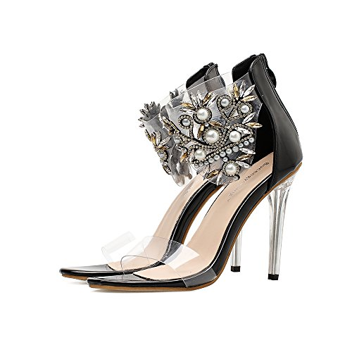 Stiletto Summer Platform 40 Shoes Crystal Fall Sparkling Heel Black Color Heels Size Heel PVC Shoes Translucent Shoes up Glitter Club Heel Light Women's wOtqPP