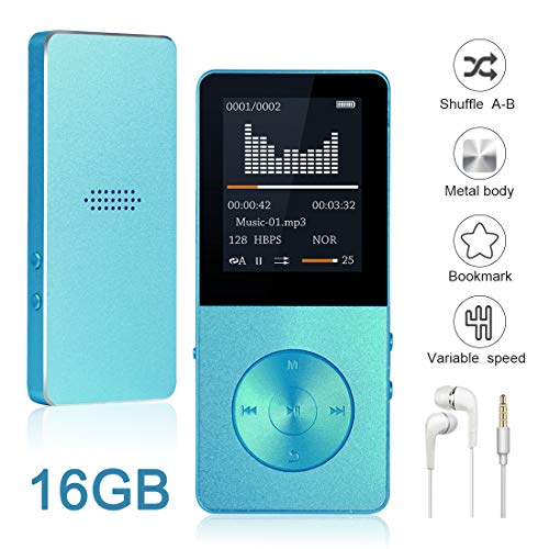 (Mp3 Player, Widon 16GB Mp4 Player up to 64GB Metal Body Built-in Speaker Headphones Shuffle A-B Playback Bookmark for Audio Books - FM Radio Voice Recorder Gift for Kids Language)