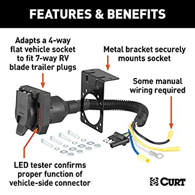 CURT 57676 4-Way Flat Vehicle-Side to 7-Way RV Blade Trailer Wiring Adapter with Tester: Automotive