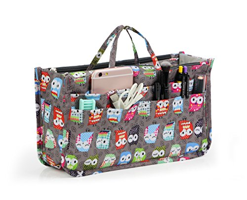 Cosmetic Bag for Women Cute Printing 14 Pockets Expandable Makeup Organizer Purse with Handles