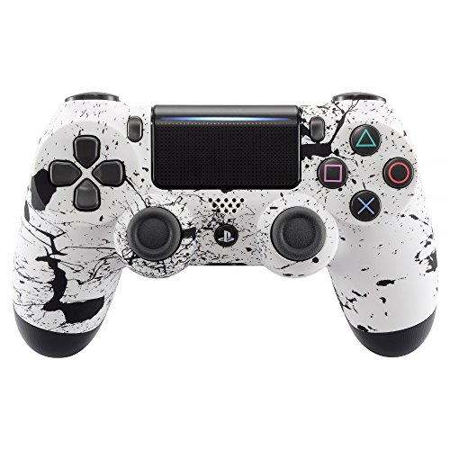 eXtremeRate Pattern Soft Touch Grip Front Housing Shell Faceplate for Playstation 4 PS4 Slim PS4 Pro Controller JDM-040 JDM-050 JDM-055 - White Splashing Spray