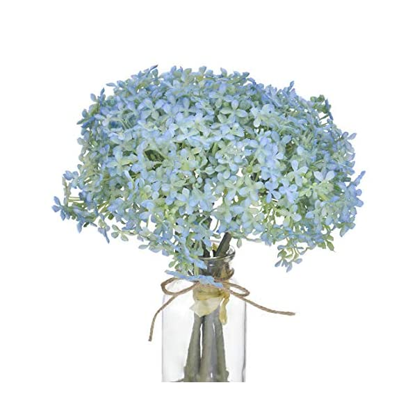 Blue Baby's Breath Artificial Fake Flowers for Wedding Bridal Bouquet Gypsophila Real Touch Flowers for Home Kitchen Office Indoor or Outdoor Garden Decor and Party Decoration