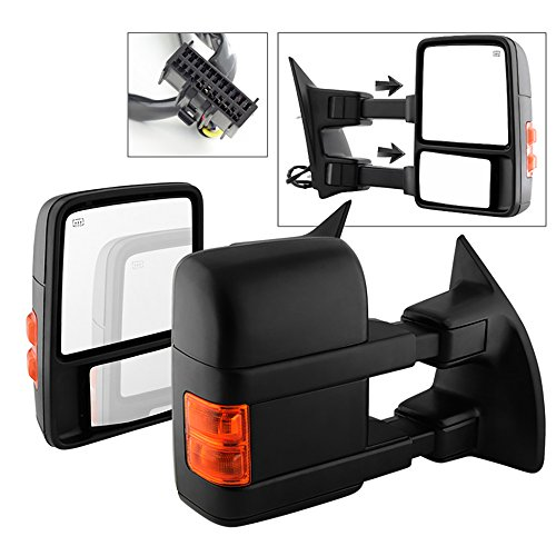 VIPMOTOZ Heated Power Remote Driver & Passenger Side Left Right View Telescopic Turn Signal Exterior Towing Mirror & Glass For 2008-2016 Ford Superduty F-250 F-350 F-450 F-550 Pickup Truck