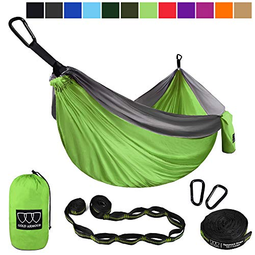 Gold Armour Camping Hammock - Extra Large Double Parachute Hammock (2 Tree Straps 16 Loops/10 ft Included) USA Brand Lightweight Portable Mens Womens Kids, Camping Accessories Gear (Lime Green/Gray)
