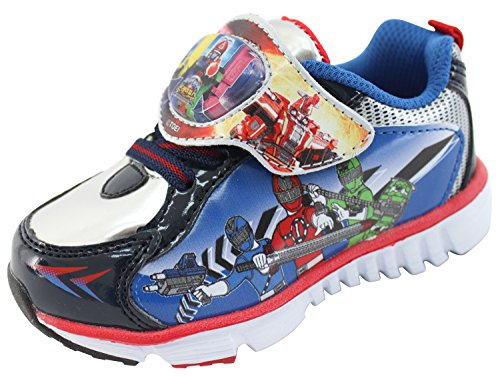 Power Rangers Train Force Boys Light Up Blue Black Silver Shoes (Parallel Import/Generic Product) (8 M US Toddler) ()