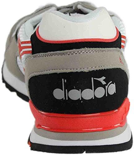 Diadora Mens N92 Skate Shoe Paloma Grigio / Fiesta Rosso