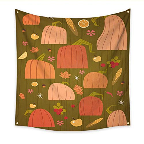 Party Decorations Tapestry Pumpkins Set Harvest Autumn Concept Vegetables and Fruits Collection Home Decorations 47W x 47L Inch