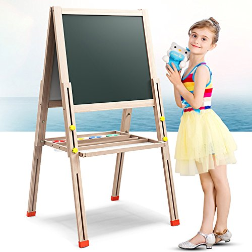 Kid's Art Easel ,Double Sided Folding Magnetic Wooden Art Easel ,Deluxe Height Adjustable Large Size Art Easel - Dry-Erase Board, Chalkboard, Paper Roller Holder and Accessories (L=57'') by LINAZI