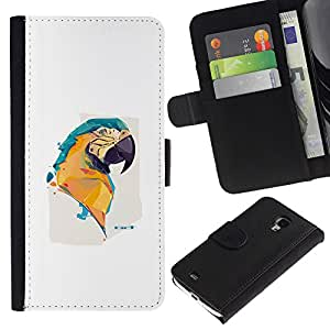 NEECELL GIFT forCITY // Billetera de cuero Caso Cubierta de protección Carcasa / Leather Wallet Case for Samsung Galaxy S4 Mini i9190 // Pintura colorida del loro del Macaw