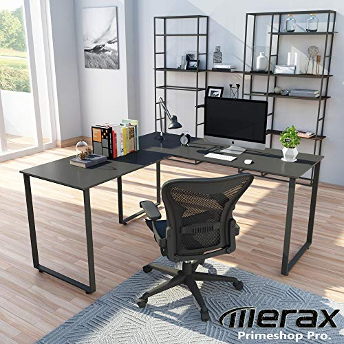 Merax L-Shaped Workstation Computer Corner Home Office Wood Laptop Table Study Desk (Black),