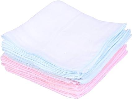 Lurrose 10pcs Toalla de Gasa Suave Pa/ños de Lavado Cuadrado Toalla para Rostro y Cuerpo rosa y azul
