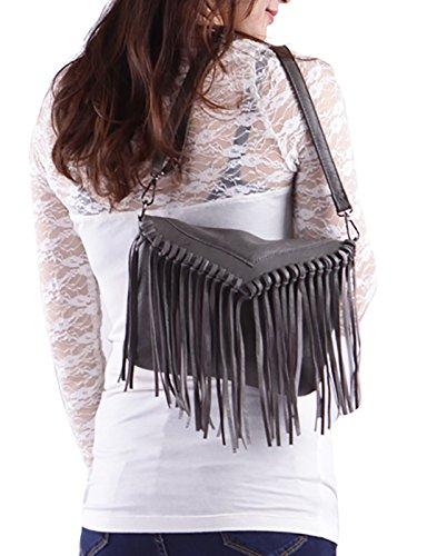 Handbag Hobo Tassel Women's Gray Vintage Fringe Leather Purse Crossbody PU HDE Small vU7wqnfpU
